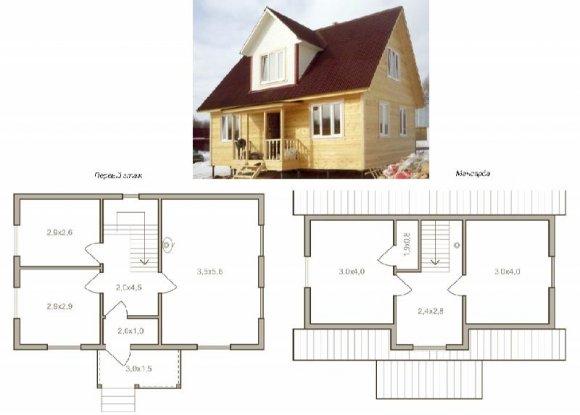 Проект деревянного дома с мансардой - 10