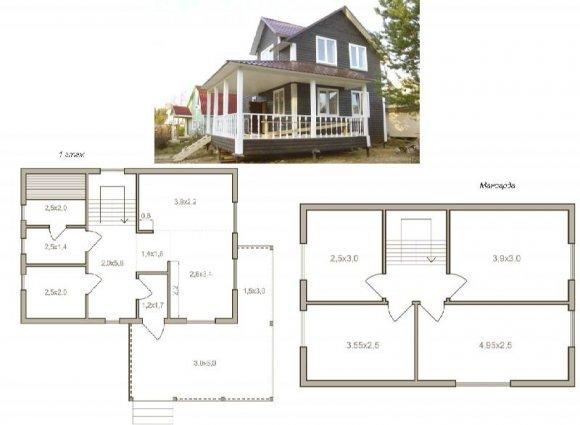 Проект деревянного дома с мансардой - 11