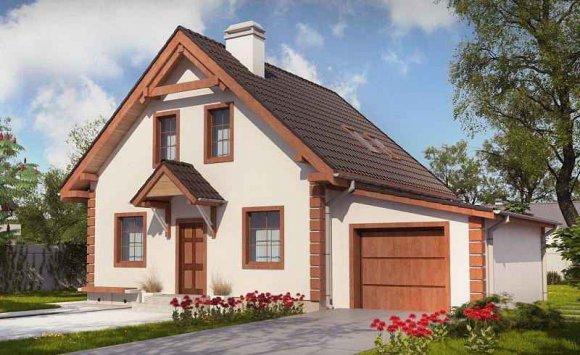 Проект одноэтажного дома с мансардой и гаражом на одну машину