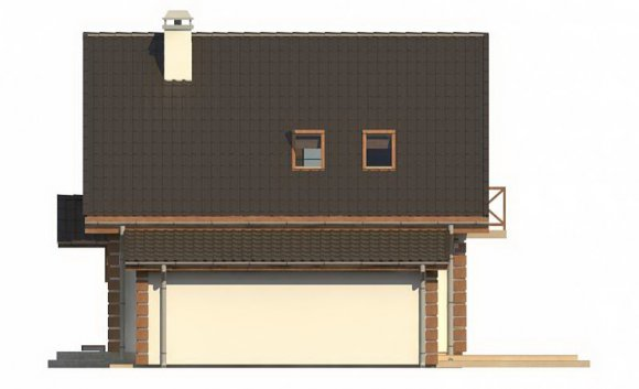 Проект дома с мансардой и гаражом - фасад 4