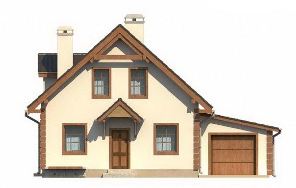 Проект дома с мансардой и гаражом - фасад 2