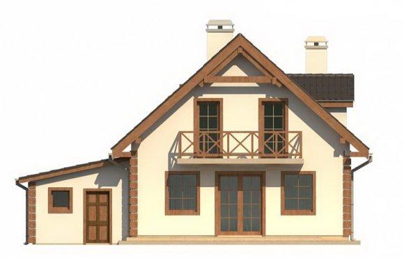 Проект дома с мансардой и гаражом - фасад 1