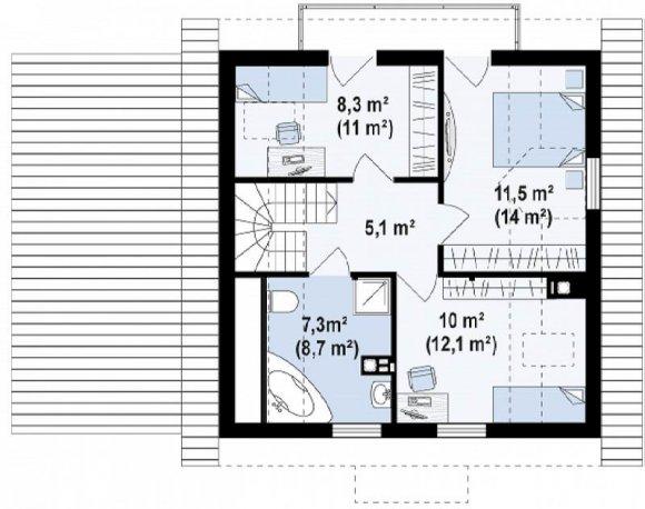 Проект дома с мансардой и гаражом - план мансардного этажа