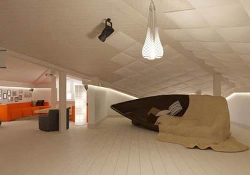 Пластиковые панели HPL в интерьере мансардного этажа
