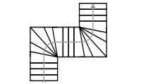 Схема одномаршевой лестницы с дугообразным (зигзагообразным) поворотом