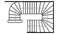 Схема одномаршевой лестницы спиральной конструкции