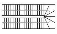 Схема двухмаршевой лестницы с забежными ступенями