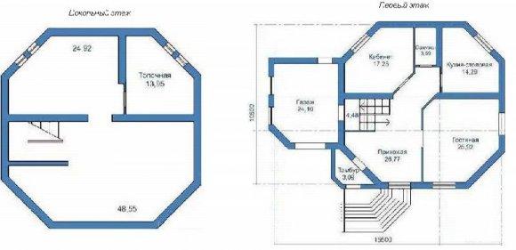 Проект 2-го дома с мансардой и гаражом - план подвала и 1-го этажа