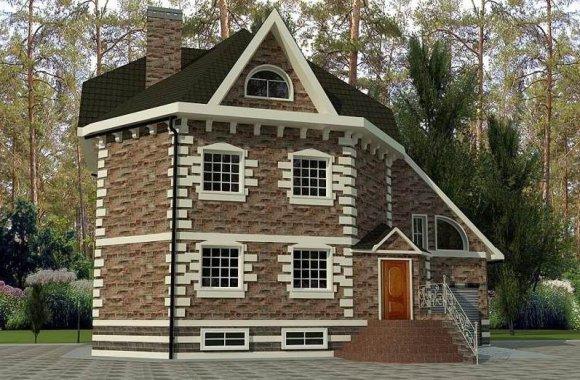 Проект двухэтажного дома с мансардой и гаражом на одну машину