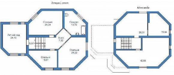 Проект 2-го дома с мансардой и гаражом - план 2-го этажа и мансарды