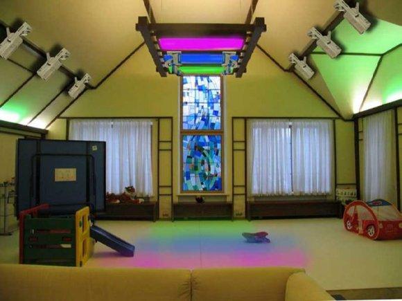 Светодиодная пдсветка потолка в мансарде