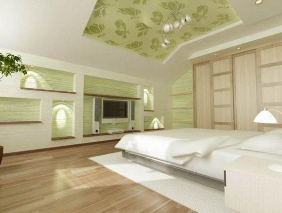 Многоуровневый гипсокартонный потолок в мансарде