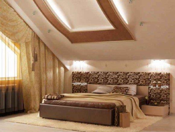 Многоуровневые потолки из гипсокартона в мансарде