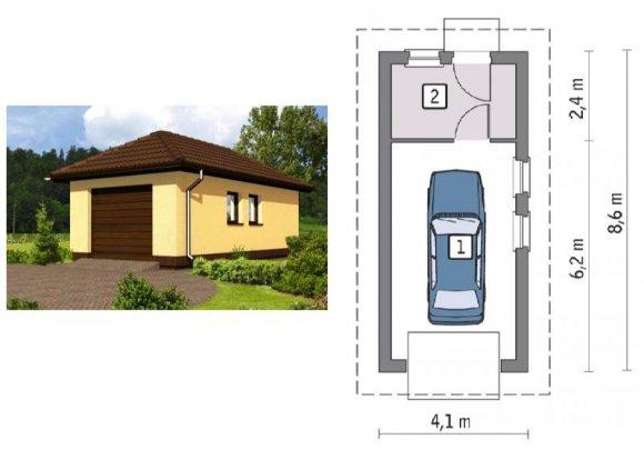 Проект гаража из пеноблоков на 1 автомобиль