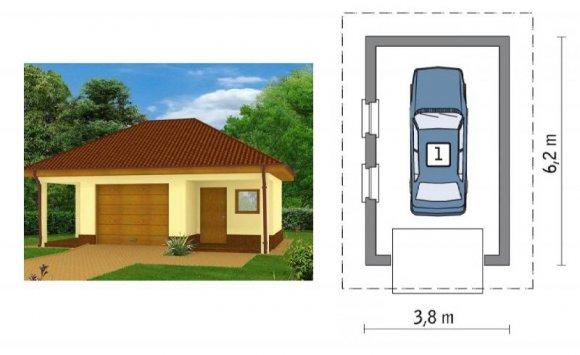 Проект гаража из пеноблоков на 1 авто