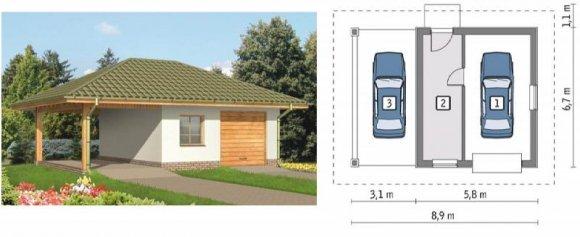 Проекты гаражей из пеноблоков на два <em>домом</em> авто
