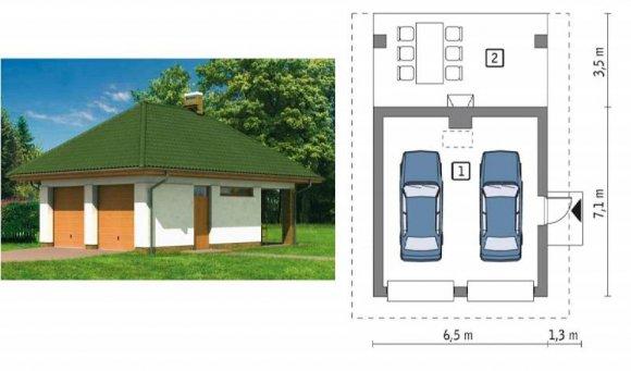 Проекты гаражей из пеноблоков на 2 машину