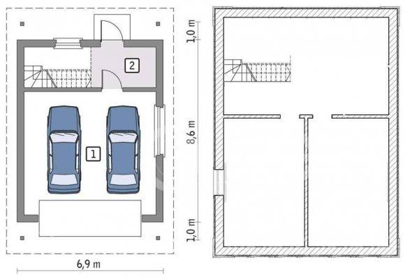 Проект гаража с подвалом на две машины