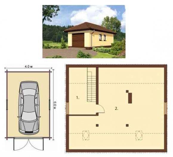 Проект гаража с погребом