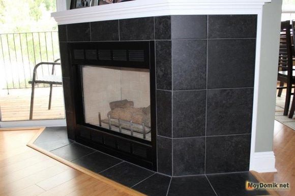 Черная облицовочная плитка для печи - вид сбоку