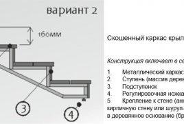 Скошенный каркас крыльца - чертеж