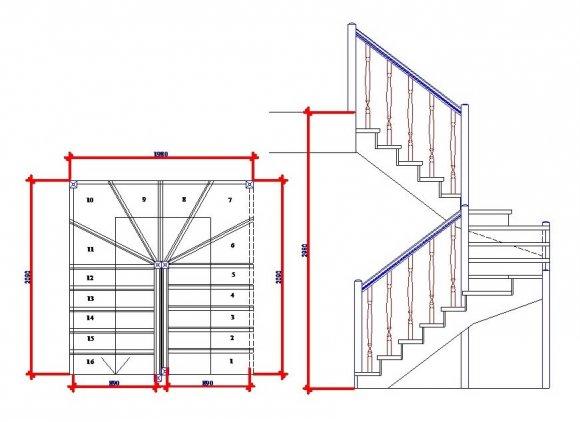 Расчет лестницы на второй этаж с забежными ступенями с поворотом на 90, 180 – как рассчитать деревянную и металлическую лестницу