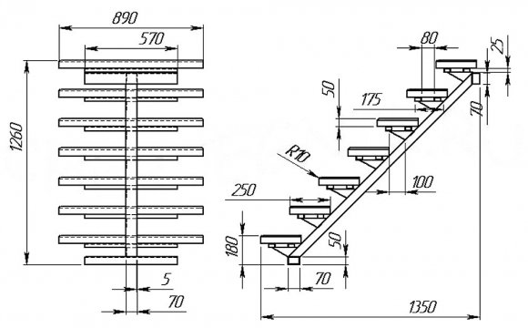 Чертеж металлической лестницы на одном косоуре