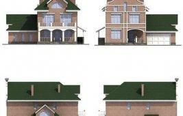 Проект трехэтажного кирпичного дома - фасады