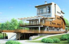 Проект трехэтажного дома с мансардой - общий вид