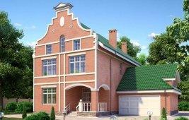 Проект трехэтажного кирпичного дома - общий вид
