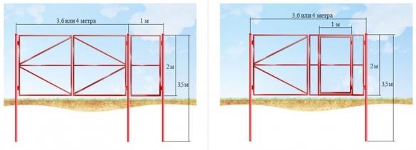 Схема распашных ворот из профнастила со встроенной и отдельно стоящей калиткой