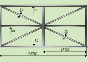 Схема распашных ворот из профнастила с размерами