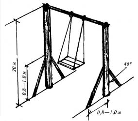 Схема деревянной подвесной качели для детей