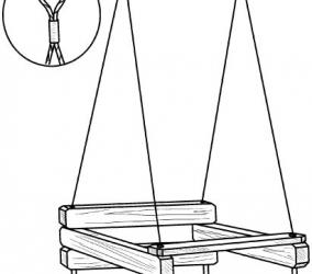 Крепление подвеса качели на веревку