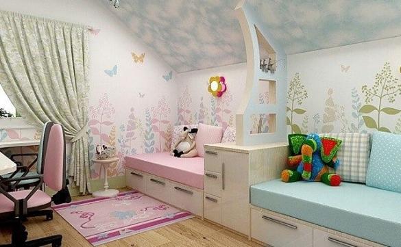 Детская комната для двух школьников разного пола