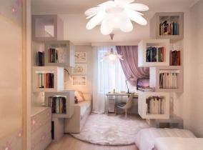 Стеллаж-полки в комнате для девочки