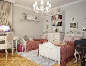 Интерьер комнаты для двух девочек школьников