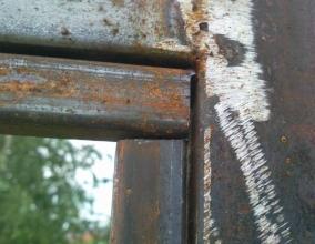Подгонка деталей ворот к сварке