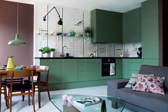 Кухня студия мятного цвета