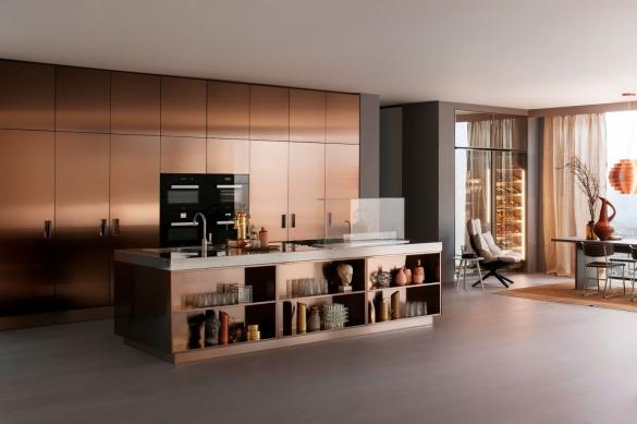 Медный цвет в интерьере кухни студии