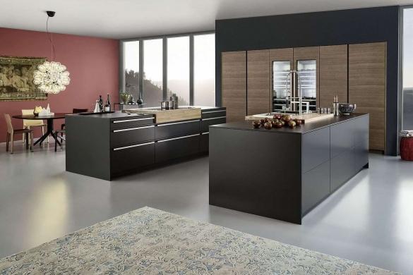 Дизайн большой кухни студии, более 40 метров