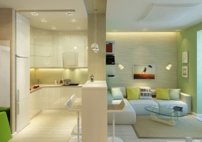 Дизайн кухни студии в эко-стиле