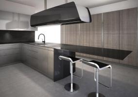 Дизайн кухни студии в хай-тек стиле