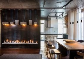 Дизайн кухни студии в лофт стиле