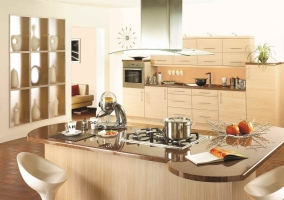 Интерьер кухни студии в эко-стиле