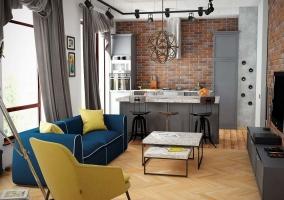 Дизайн небольшой кухни студии с яркими акцентами