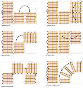 Варианты схем укладки нагревательных матов с поворотом на 90 и 180 градусов