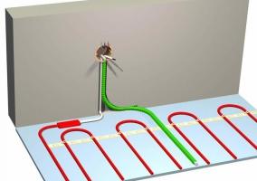 Подводка кабелей электрического теплого пола