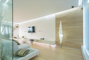 Натуральные материалы в дизайне квартиры-студии в белом цвете