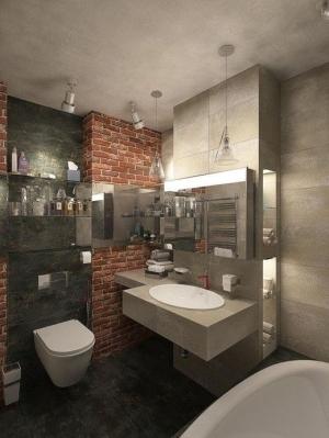 Дизайн ванной в интерьере квартиры-студии в стиле Loft
